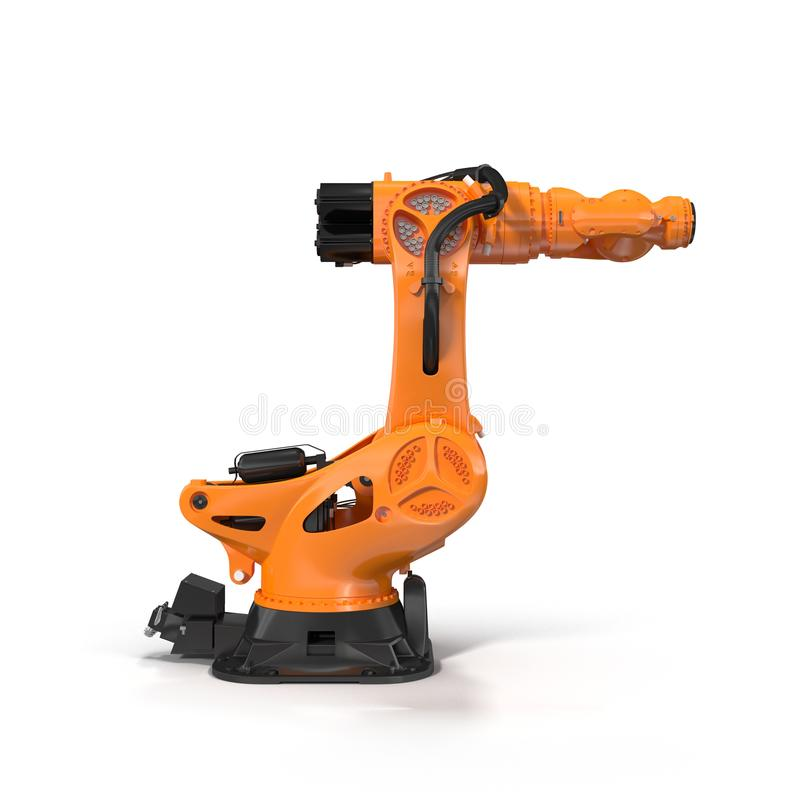 Orange robot arm for industry isolated on white. Side view. 3D Illustration. Orange robot arm for industry isolated on white background. Side view. 3D stock illustration