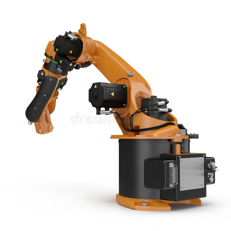 Orange robot arm for industry isolated on white. 3D Illustration, clipping path. Orange robot arm for industry isolated on white background. 3D Illustration royalty free illustration