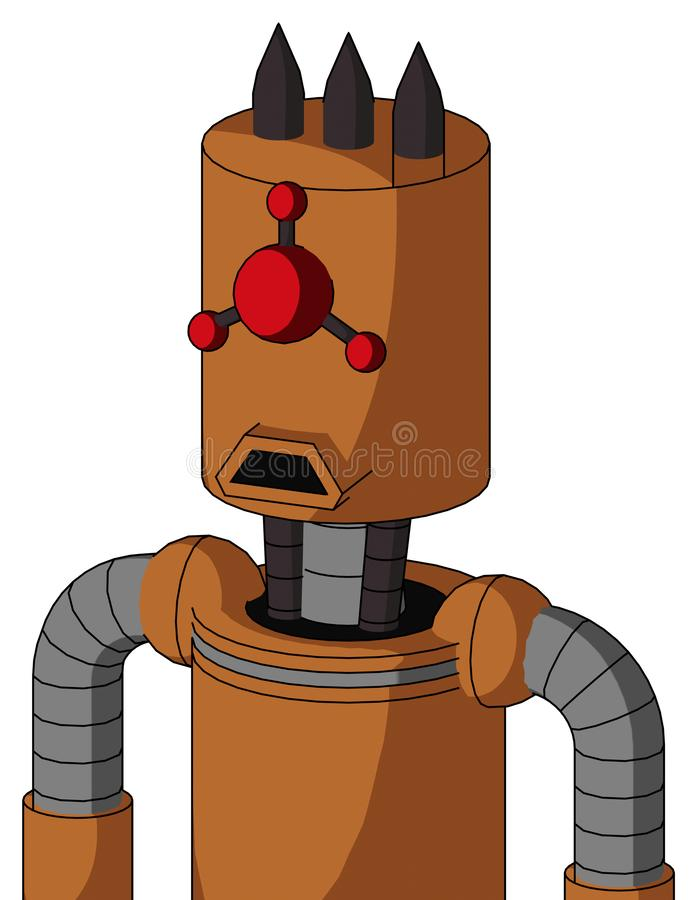 Orange Robot With Cylinder Head And Sad Mouth And Cyclops Compound Eyes And Three Dark Spikes. Portrait style Orange Robot With Cylinder Head And Sad Mouth And vector illustration