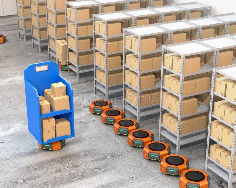 Orange Roboterfördermaschinen, die nahe zu den Regalen im modernen Lager parken vektor abbildung
