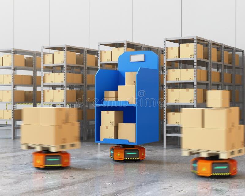 Orange Roboterfördermaschinen, die Waren im modernen Lager tragen vektor abbildung