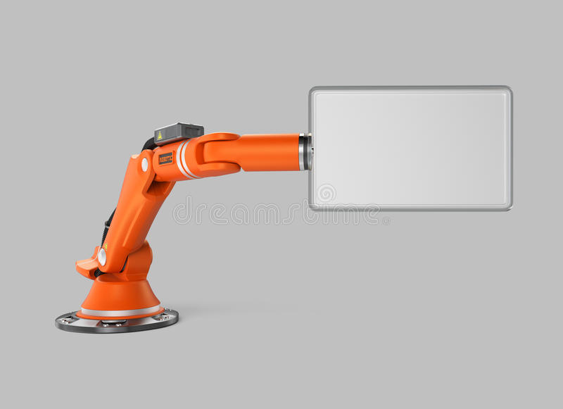 Orange robotic arm holding a blank sign board vector illustration