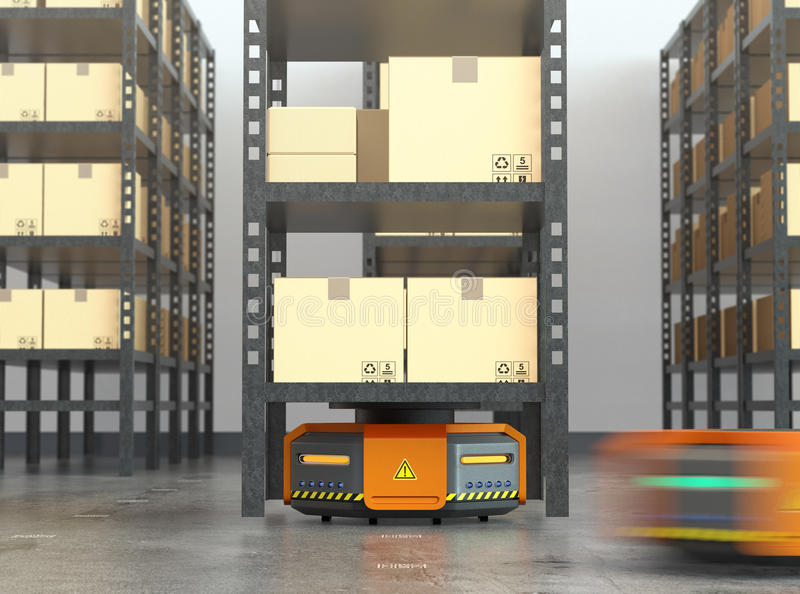 Orange robots carrying pallets with goods in modern warehouse vector illustration