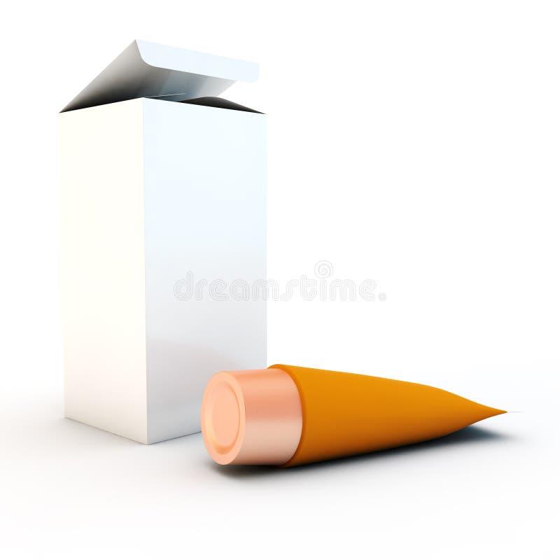 Orange Rohr für Creme lizenzfreie abbildung