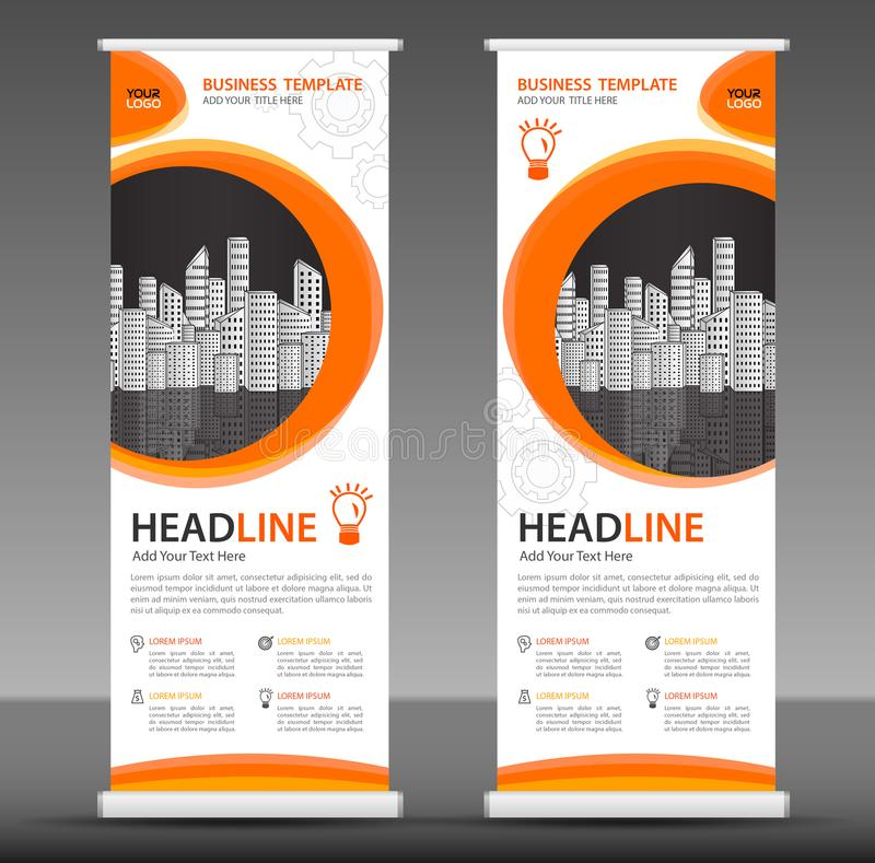Orange Roll up banner stand template design, business brochure flyer. Infographics, presentation, advetisement, marketing, ads, poster, polygon backgrond stock illustration