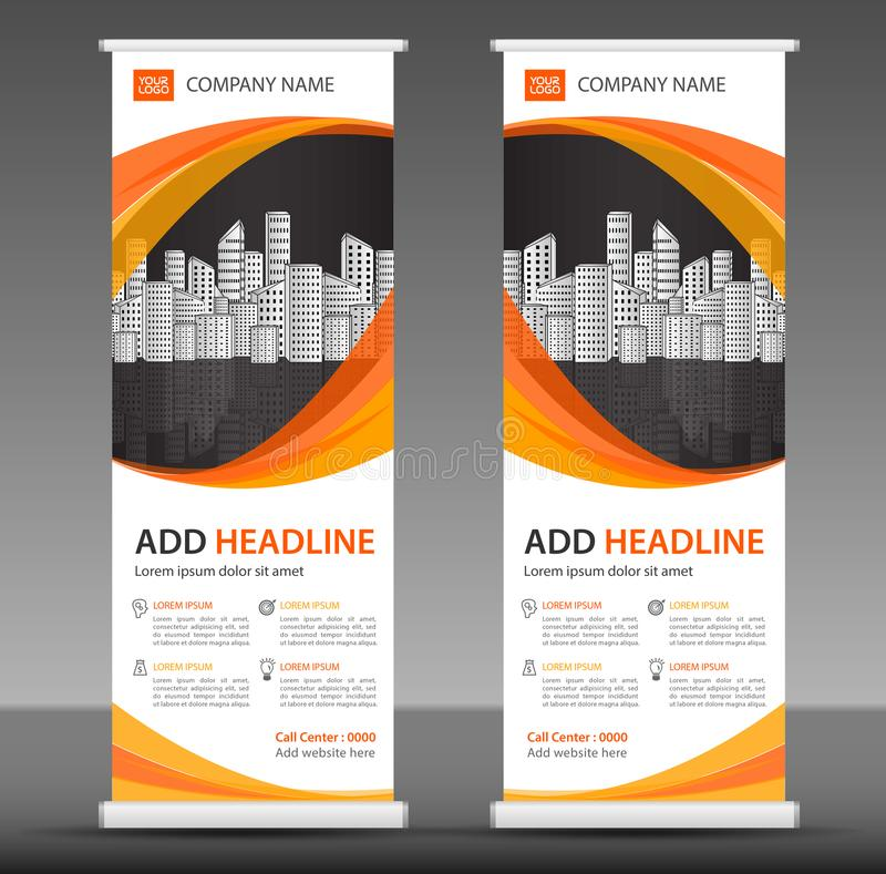 Orange Roll up banner stand template design, business brochure flyer, infographics, presentation,. Advetisement, marketing, ads, poster, polygon backgrond stock illustration
