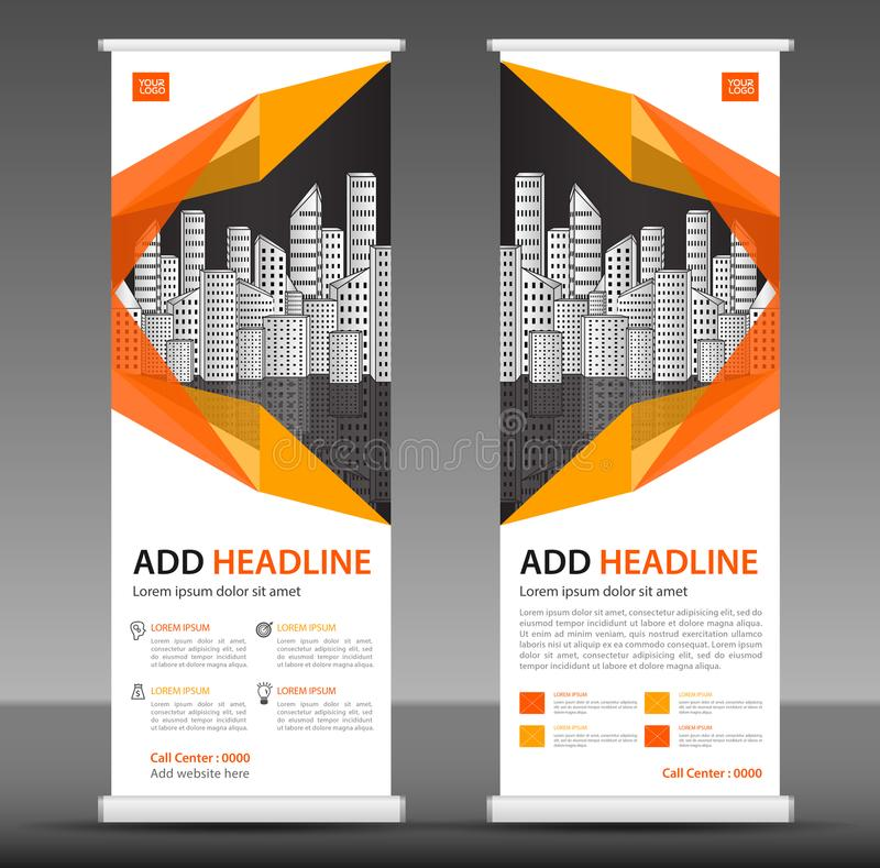 Orange Roll up banner stand template design, business brochure flyer, infographics, presentation, advetisement. Marketing, ads, poster, polygon backgrond royalty free illustration