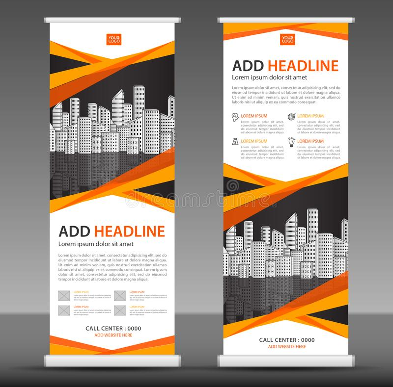 Orange Roll up banner stand template design, business brochure flyer, infographics, presentation, advetisement. Marketing, ads, poster, polygon backgrond stock illustration