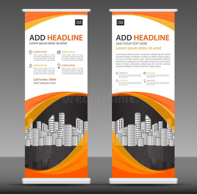 Orange Roll up banner stand template design, business brochure flyer, infographics, presentation, advetisement. Marketing, ads, poster, polygon backgrond vector illustration