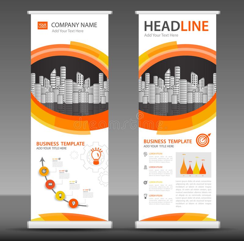 Orange Roll up banner stand template design, business brochure flyer. Infographics, presentation, advetisement, marketing, ads, poster, polygon backgrond royalty free illustration