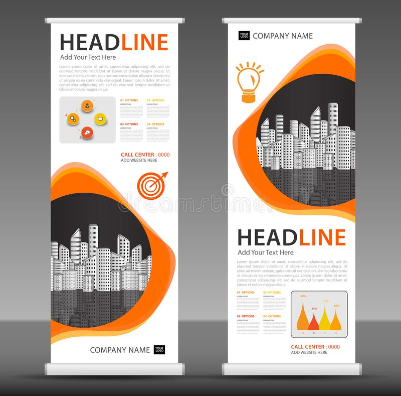 Orange Roll up banner stand template design, business brochure flyer. Infographics, presentation, advetisement, marketing, ads, poster, polygon backgrond vector illustration
