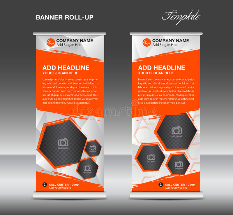 Orange Roll up banner template vector, roll up stand, banner royalty free stock images