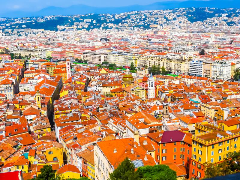 Aerial view of the Nice, France stock image