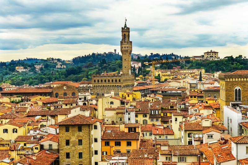 Orange Roofs Palazzo Vecchio Tower Piazza Signoria Florence Italy. Orange Roofs Palazzo Vecchio City Hall Tower Hills Piazza Signoria Florence Tuscany Italy stock photo