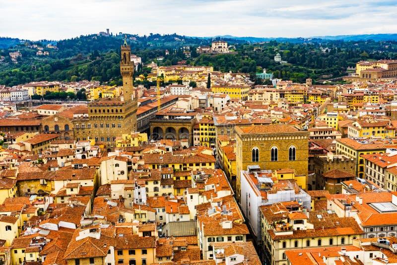 Orange Roofs Palazzo Vecchio Tower Piazza Signoria Florence Italy. Orange Roofs Palazzo Vecchio City Hall Tower Hills Piazza Signoria Florence Tuscany Italy stock photography