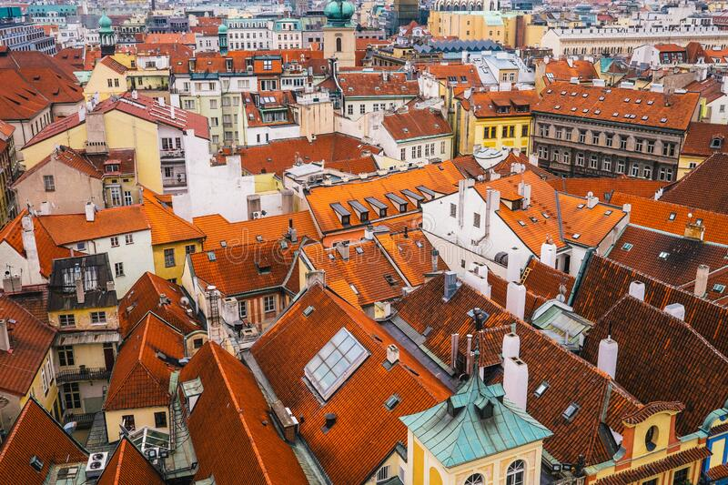 Orange Rooftops in Cityscape stock image