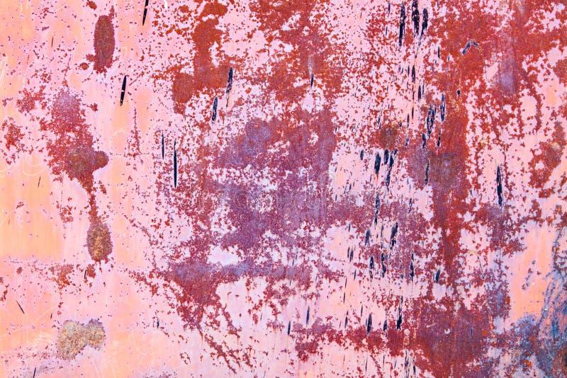 Orange rosa metallischer Eisenhintergrund der rostigen Weinlese stockbild