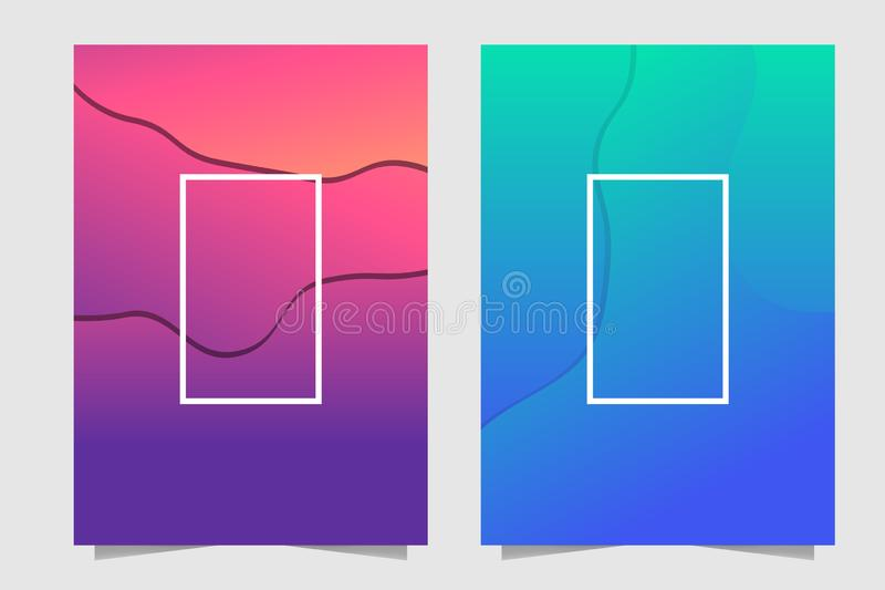 Orange, rosa, purpurrote und blaue flüssige abstrakte Abdeckung Schablone, heller Farbsteigungshintergrund vektor abbildung