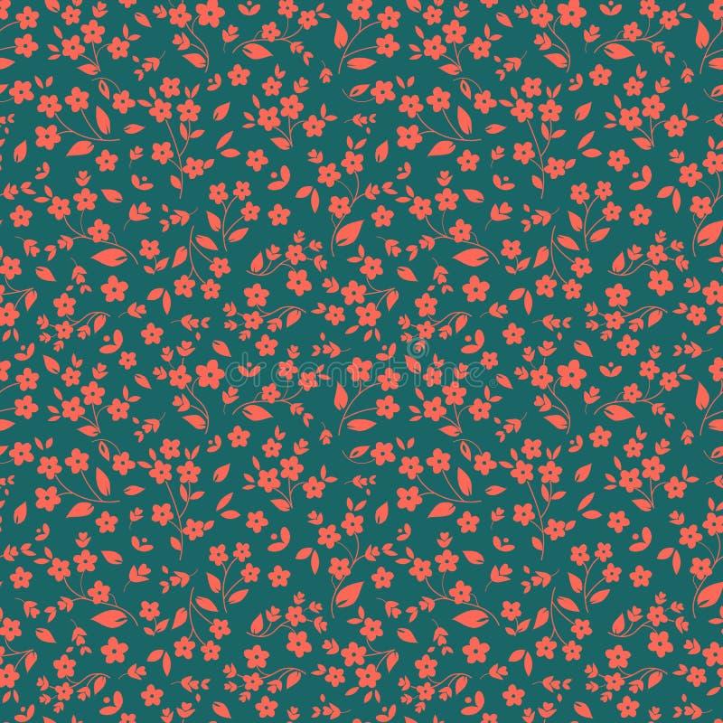 Orange rosaaktiga små blommor för sömlös blom- vektormodell på mörker - grön bakgrund som är ditzy, millefleurs, tyg stock illustrationer