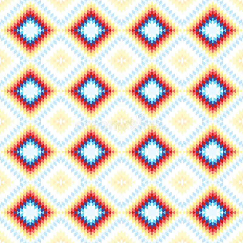 Orange rose bleue blanche de tapis turc sans couture de modèle Couverture de kilim d'oriental de mosaïque de patchwork avec l'orn illustration libre de droits
