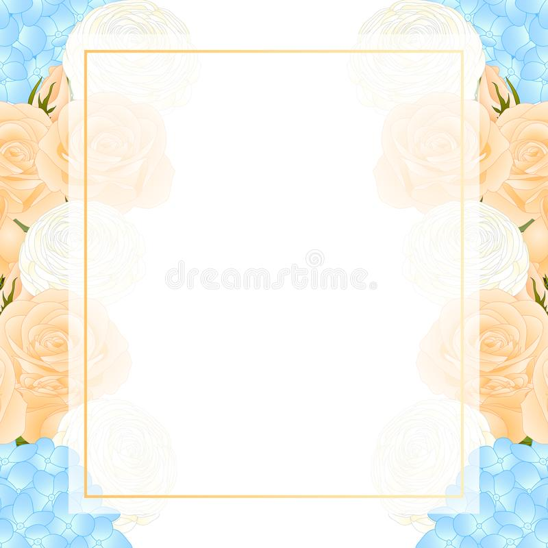 Orange Rose, Blue Hydrangea and White Ranunculus Banner Card. Vector Illustration royalty free illustration