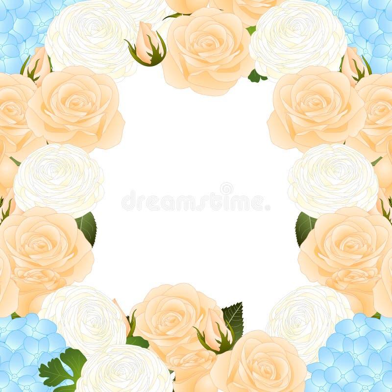 Orange Rose, Blue Hydrangea and White Ranunculus Border. isolated on White Background. Vector Illustration. vector illustration