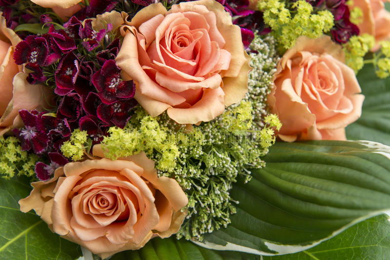Orange Rosen und ummer Blumen stockfotos