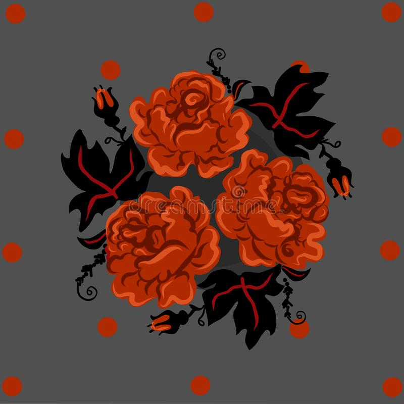Vintage orange roses and black leafes in circle. card fabric and print proposition. modern interpritation of old royalty free stock photography