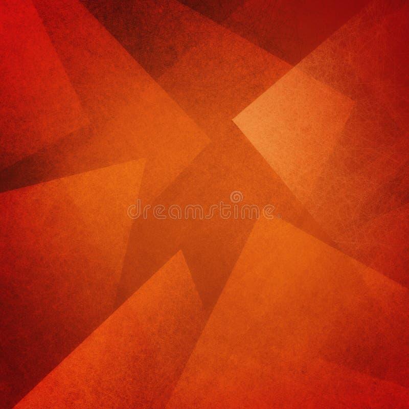 Orange roter und schwarzer abstrakter Hintergrund mit den winkligen Block-, Quadrat-, Diamant-, Rechteck- und Dreieckformen überl vektor abbildung