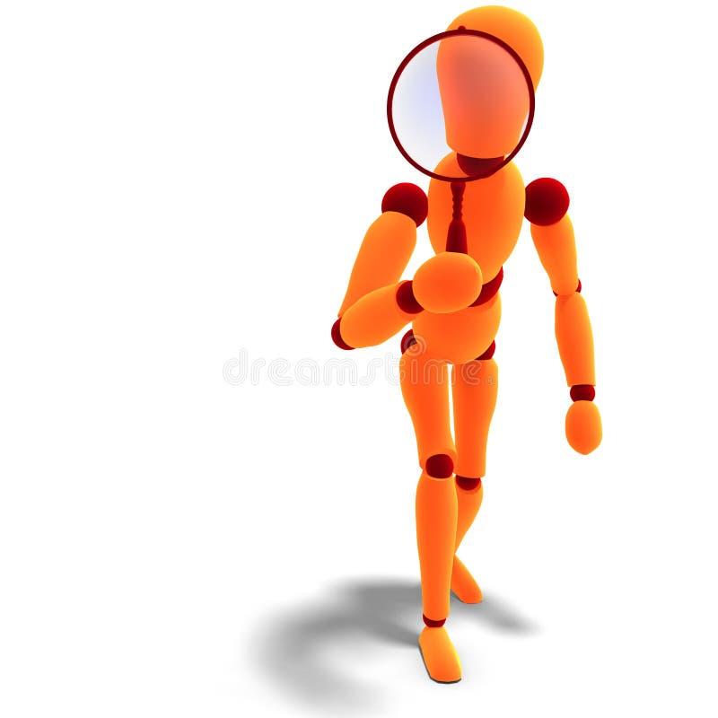 Orange/rotes Männchen, das durch ein Vergrößerungsglas schaut vektor abbildung