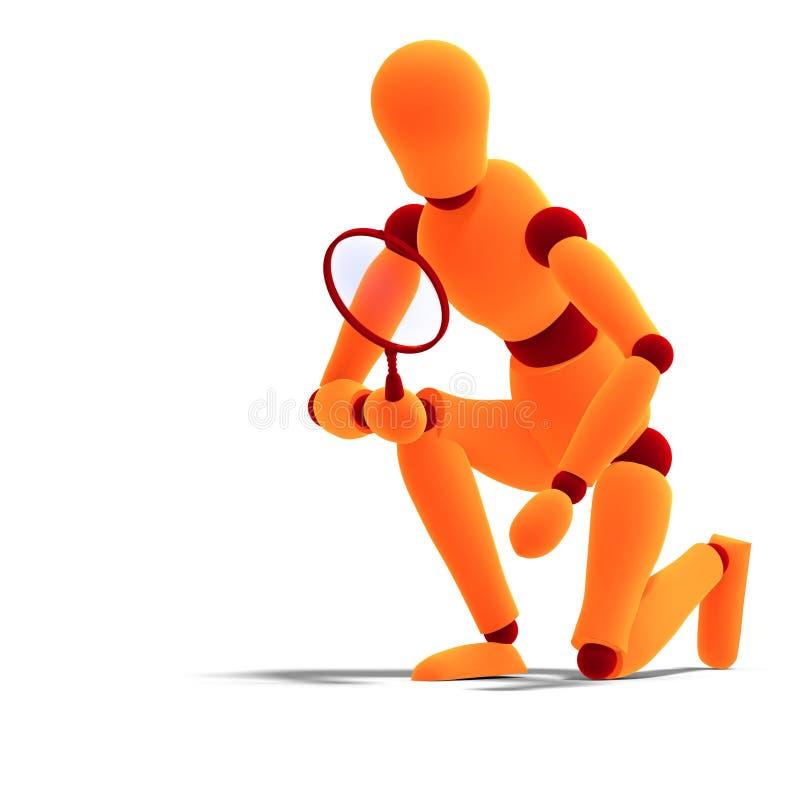 Orange/rotes Männchen, das durch ein Vergrößerungsglas schaut lizenzfreie abbildung