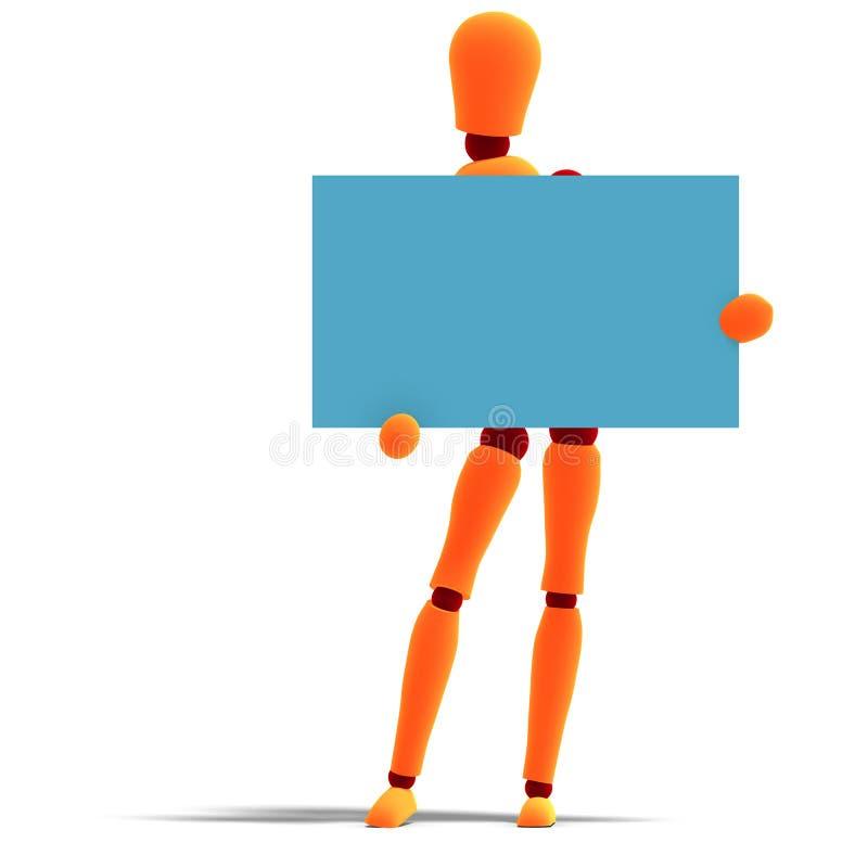Orange/rotes Männchen hält eine Visitenkarte an stock abbildung
