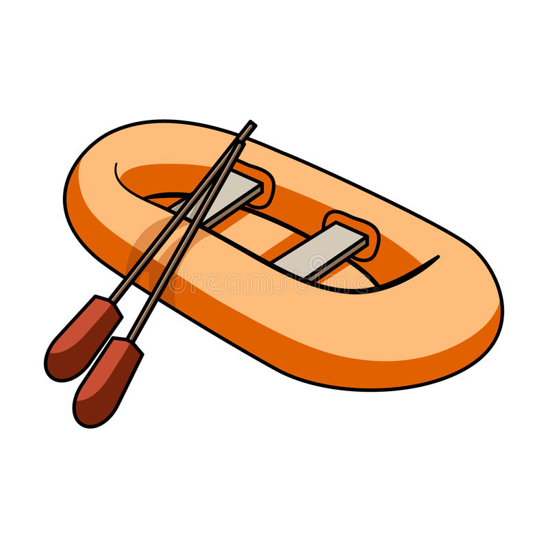 Orange rubber lifeboat.The boat, which weighs on the sides of large boats for the rescue.Ship and water transport single vector illustration