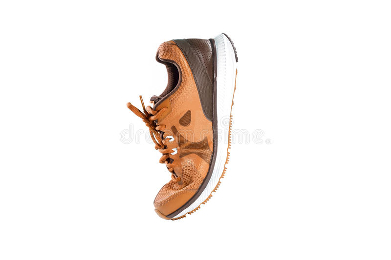 Orange running and fashion sneaker shoe. Colorful orange running and fashion sneaker shoes isolated on white background royalty free stock images