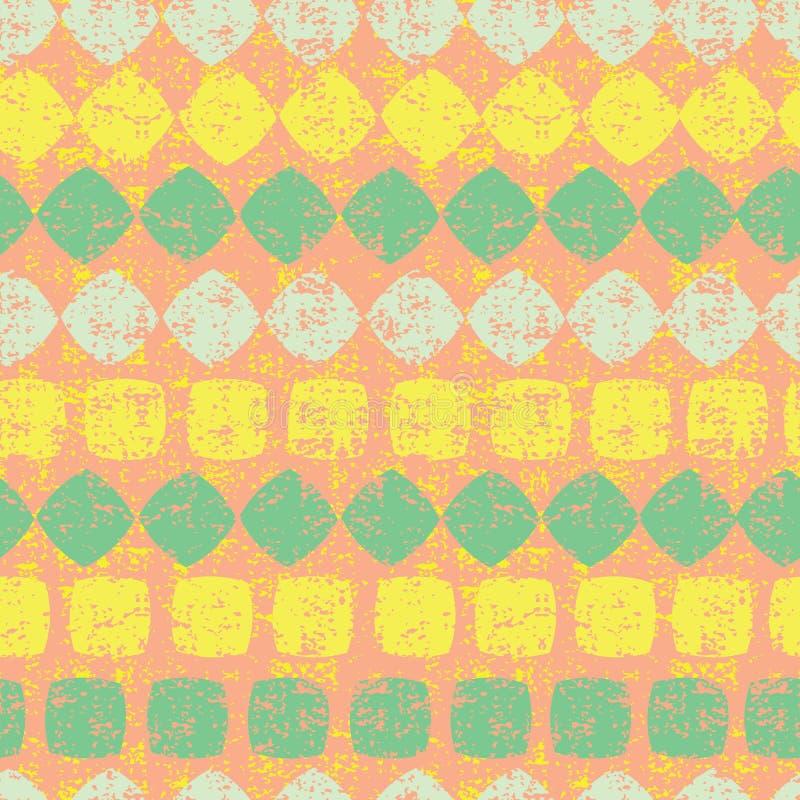 Orange sömlös modell för vektor av diamant- och fyrkantband med grungetextur Passande för textil, gåvasjal och tapet stock illustrationer