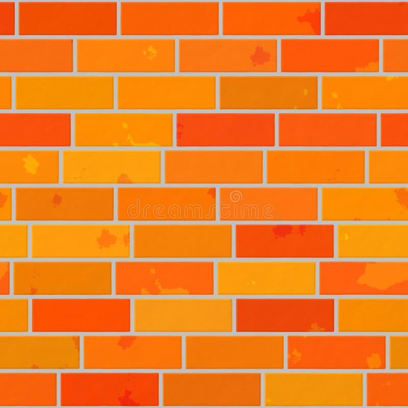 Orange sömlös modellbakgrund - väggtegelsten stock illustrationer