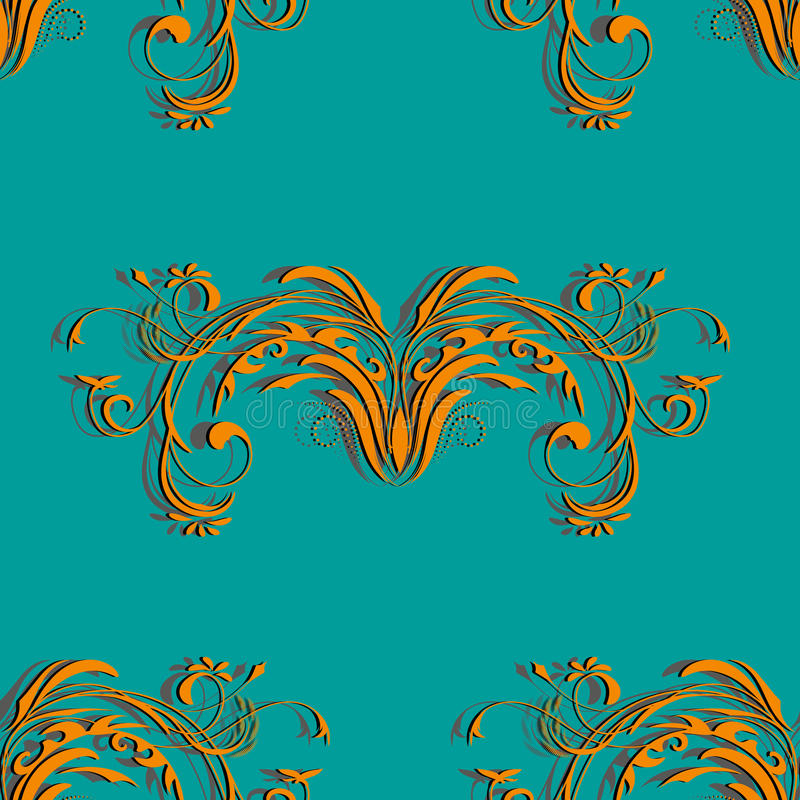 Orange sömlös tappningmodell med den blom- beståndsdelabstrakt begreppprydnaden på bakgrundsfärgen av en havsvåg vektor illustrationer