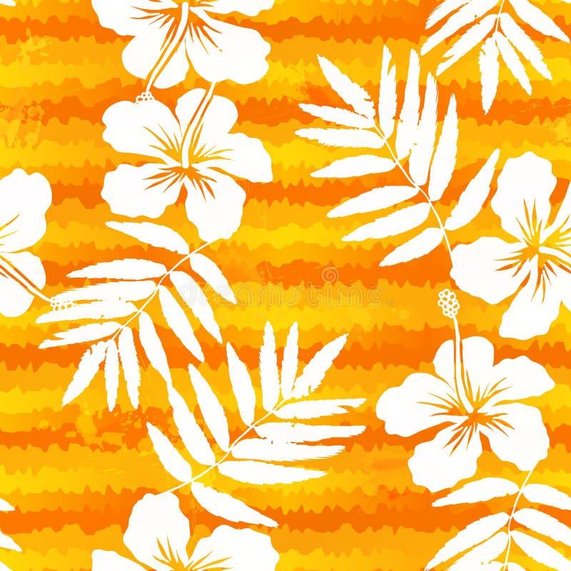 Orange sömlösa ljusa blommor och målade band stock illustrationer
