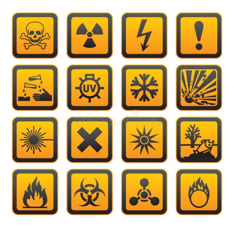orange s teckensymboler för fara stock illustrationer
