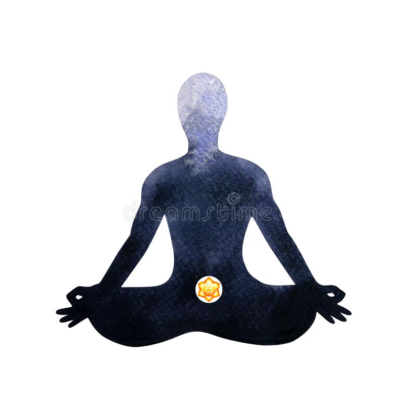 Orange sacral chakra human lotus pose yoga, abstract inside your mind royalty free illustration