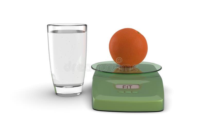 Orange saine avec l'équilibre et le verre images stock