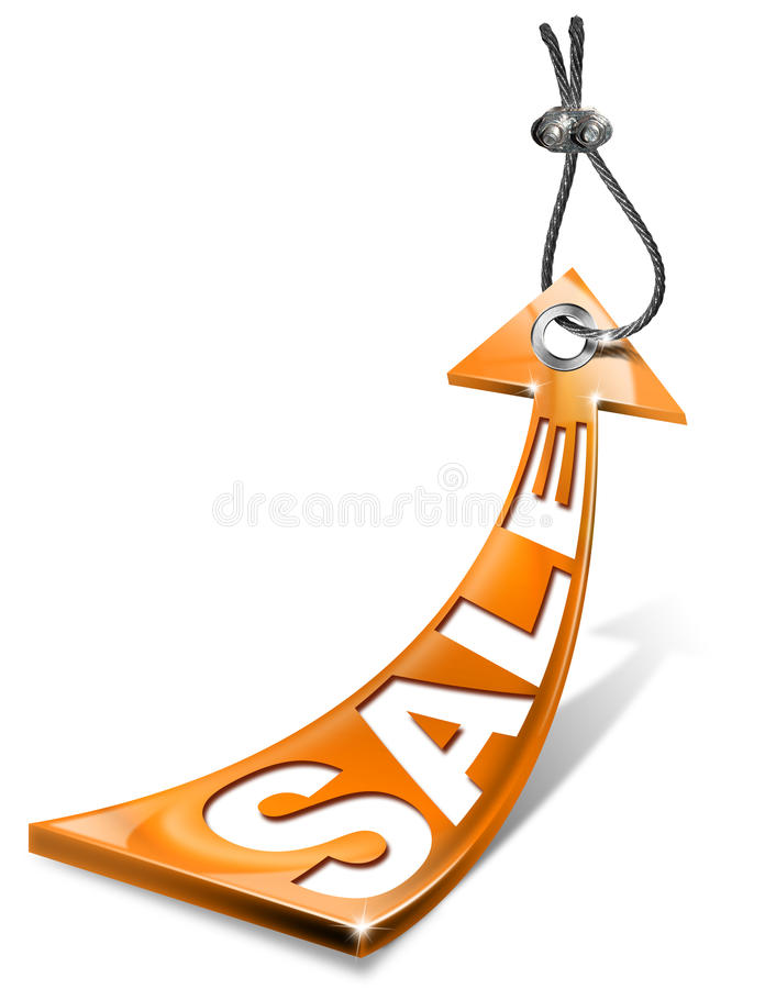 Orange Sale Arrow Tag Stock Photos
