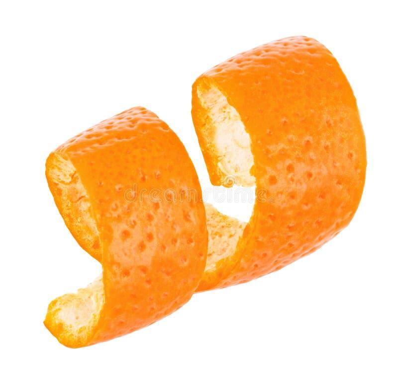 Orange Schale der Locke lokalisiert auf weißem Hintergrund stockbilder