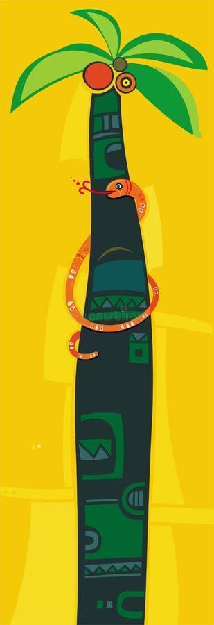 Orange Schlange auf Palme. stock abbildung