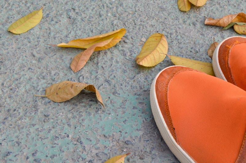 Orange Schuhe auf dem Boden mit Blättern stockfoto
