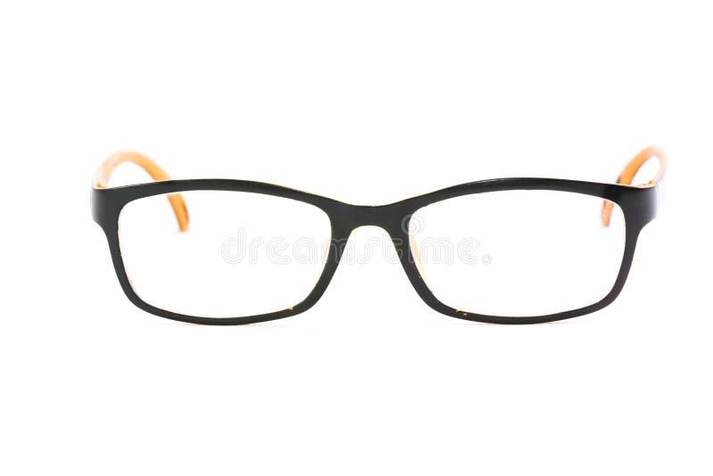 Orange-schwarze Gläser auf weißem Hintergrund stockfoto