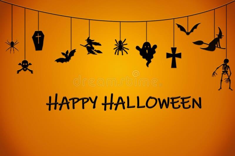 Orange schwarzer Hintergrund Halloweens mit Geist, Spinne, Kreuz, Schläger lizenzfreie abbildung