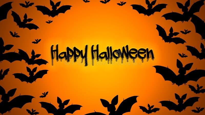 Orange schwarzer Hintergrund Halloweens mit Schläger stock abbildung