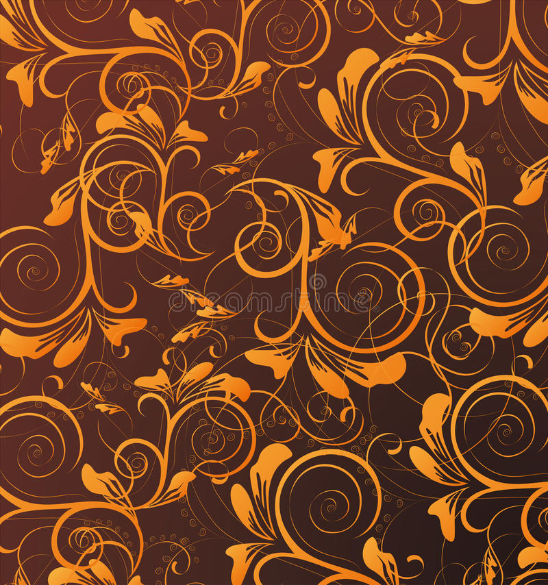 Orange seamless flower pattern in brown background vector illustration
