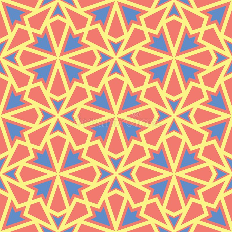 Orange seamless pattern. Bright geometric background with blue and yellow design royalty free illustration